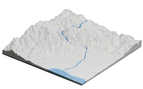 立体白地図・白地形図