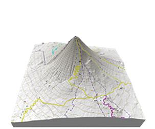 日本百名山・富士山の立体地図・模型、贈り物、記念品、プレゼント