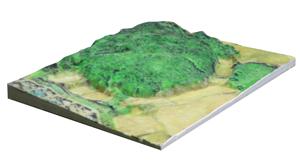 太陽光発電用地、造成前の立体地形図