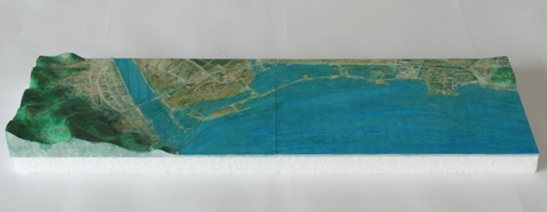陸前高田震災後の立体地図・地形図