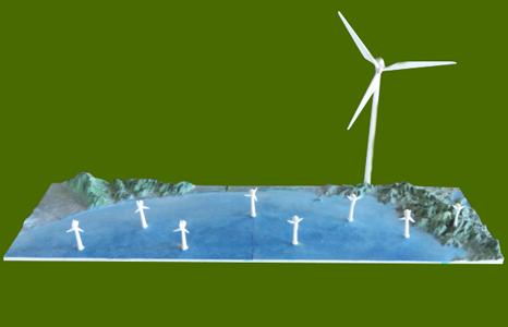 風力発電設備、立体配置模型