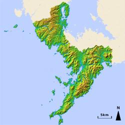 長崎県、立体地図
