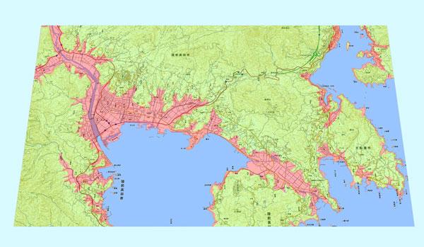 特大、陸前高田市、防災地図